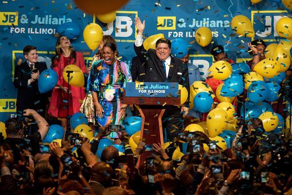 J.B. Pritzker celebrates his victory Tuesday