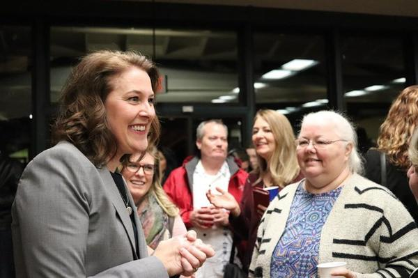 <p>Carolyn Long greets supporters on Election Night in Vancouver, Washington, Tuesday, Nov. 6, 2018.</p>
