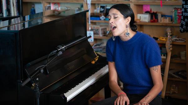 Half Waif performs a Tiny Desk Concert on Oct. 17, 2018 (Cameron Pollack/NPR).