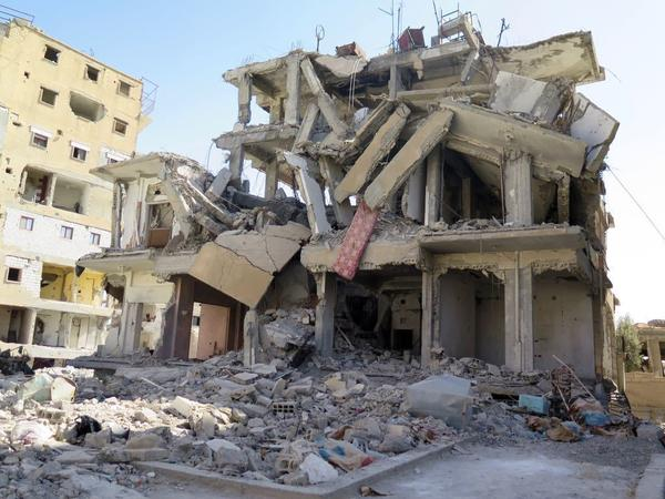The building in Raqqa of the former home of Latuf Tadfi and his family, which relatives say was hit by a U.S.-led coalition airstrike.