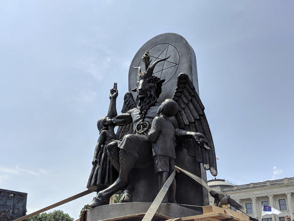 The Satanic Temple says a statue in <em>Chilling Adventures of Sabrina</em> bears too close a likeness to the temple's statue of Baphomet, shown here in Little Rock, Ark.