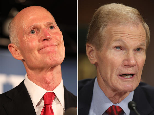 Florida Gov. Rick Scott (left) and Democratic Sen. Bill Nelson are in a close Senate race, which may trigger a recount.
