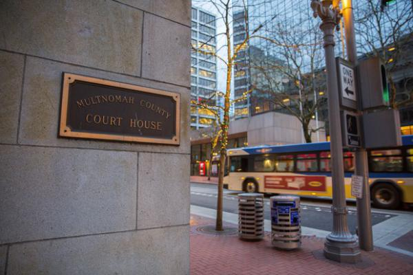 <p>The Multnomah County Courthouse in downtown Portland. ICE confirmed to OPB multiple arrests happened near county courthouses in January.</p>