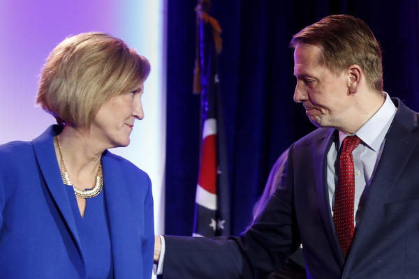 Ohio Democratic gubernatorial candidate Richard Cordray reacts alongside his running mate Betty Sutton after conceding defeat to Republican Mike DeWine during the Ohio Democratic Party election night watch party Tuesday, Nov. 6, 2018, in Columbus.