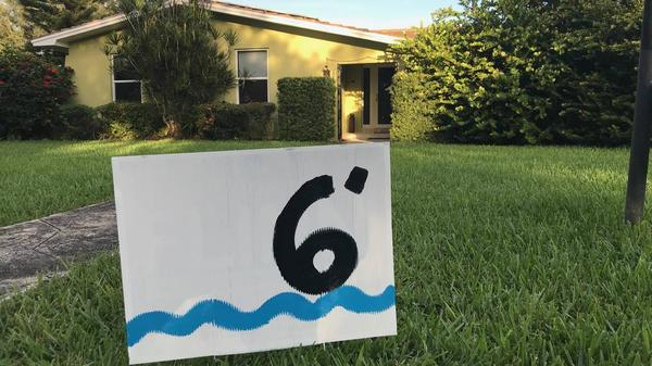 Visual artist Xavier Cortada is leading an effort to turn political yard signs into signs showing the elevations of people's homes above sea level. The project is intended to promote civility and raise awareness of sea-level rise.
