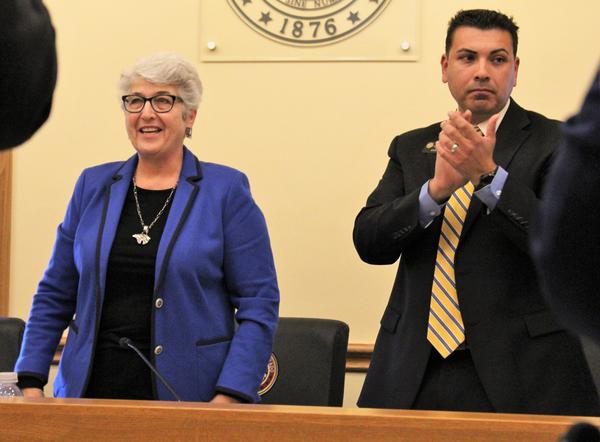 New Senate President Leroy Garcia, right, celebrates the election of Lois Court, left, as Senate President Pro-Tem on Thursday at the State Capitol.