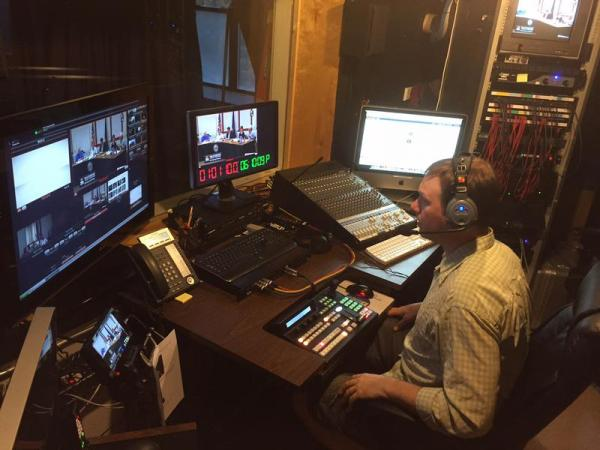 Brattleboro Community TV Content Manager Jeff Mastroianni sits in the studio while airing a Select Board meeting live on one of the station's two public access channels.