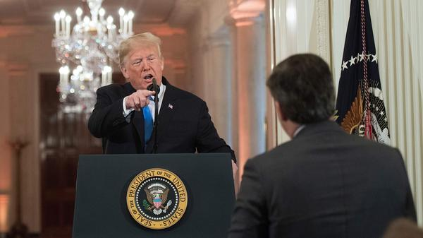 President Trump gets into a heated exchange with CNN chief White House correspondent Jim Acosta during a postelection press conference Nov. 7.