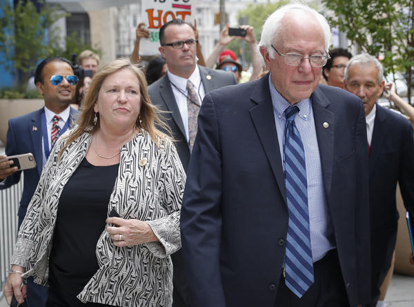 Jane O'Meara Sanders and Sen. Bernie Sanders, pictured in Philadelphia on July 28, 2016 for the Democratic National Convention. The Washington Post first reported Tuesday that Jeff Weaver said a federal investigation into O'Meara Sanders had been dropped.