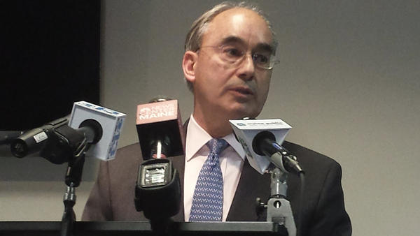 U.S. Rep. Bruce Poliquin, R-Maine, speaks to reporters during a news conference Tuesday in Augusta.