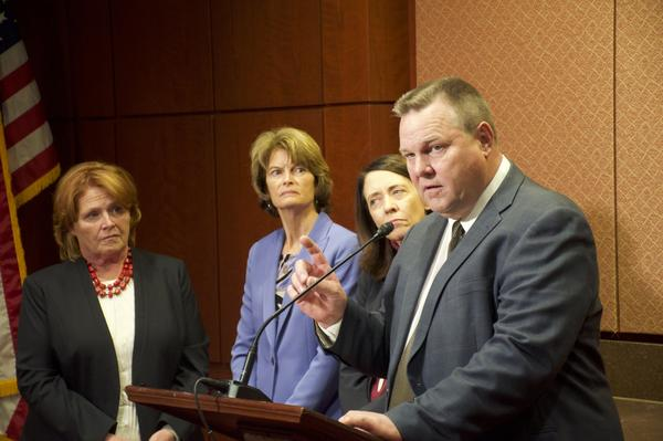 Sens. Jon Tester, D-MT, Heidi Heitkamp, D-ND, and Lisa Murkowski, R-AK, help unveil a first-of-its-kind report on the number of missing and murdered indigenous women in U.S. cities.