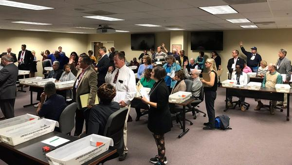 Observers from the Republican and Democratic parties along with members from the Bill Nelson and Rick Scott campaigns were at the Duval Supervisors of Elections recount in Jacksonville Friday.