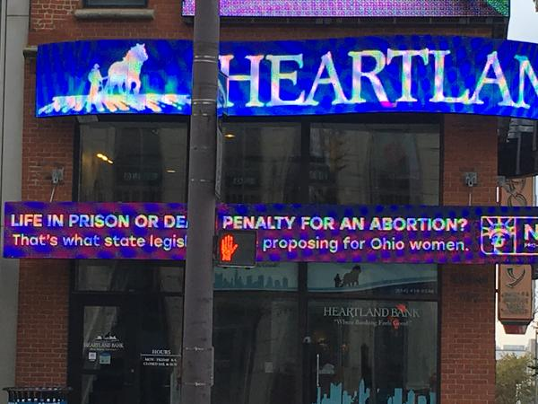 Planned Parenthood Ad On Marquee at Columbus bank