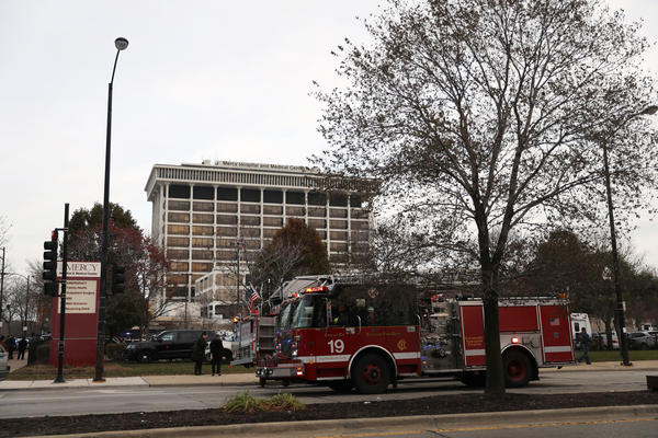 Emergency personnel responded to reports of shots fired on Monday at Mercy Hospital & Medical Center in Chicago.