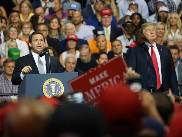 Ron DeSantis, who formally became Florida's Governor two weeks after the election, speaks at a Trump rally during his campaign.