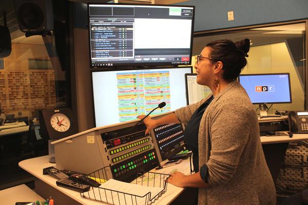 Christina Cala directing <em>All Things Considered </em>live in November 2018.