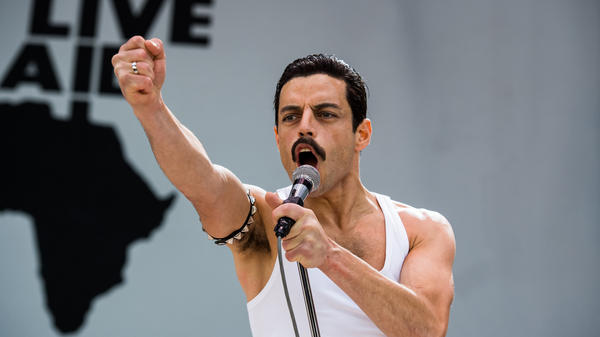 Rami Malek stars as Queen lead singer Freddie Mercury in <em>Bohemian Rhapsody.</em>
