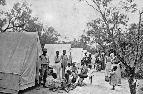 Former slaves who had relocated to Mexico for work returned to the U.S. after encountering hardship. They were quarantined at the border near Eagle Pass, Texas, at Camp Jenner.