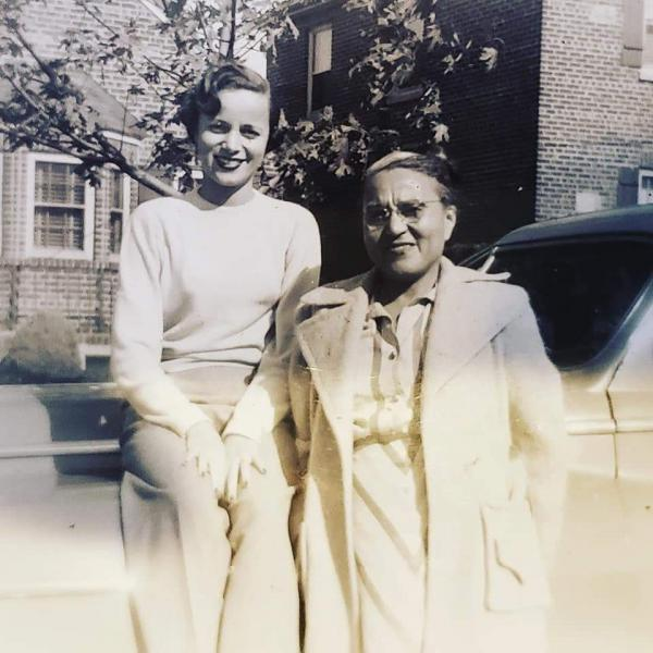 Chip Williams' mother Joan at age 18 (seated on car) with her mother, Marguerite.