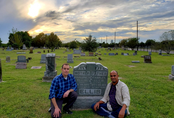 Karl Jacoby and Chip Williams at Ellis' parent's grave in San Antonio, TX.