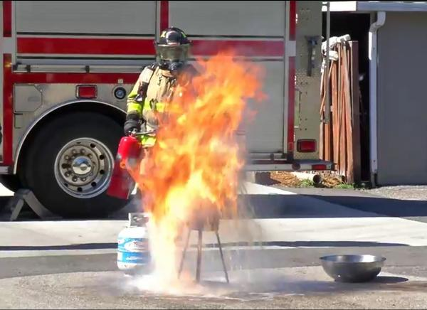 In a Facebook Live video, Sarasota County firefighters demonstrate what happens when an unthawed turkey is dropped into a deep fryer at unsafe temperatures.