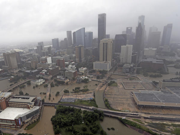 Many highways in Houston were flooded during Hurricane Harvey in 2017. The report finds that U.S. infrastructure is unprepared for climate change.