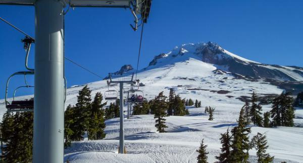 <p>Mount Hood from a ski lift at Timberline Ski Resort.</p>