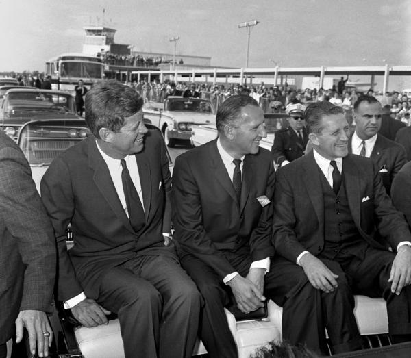 President Kennedy, U.S. Senate Candidate Sidney Yates (center) and Gov. Otto Kerner during JFK's visit to Springfield in October 1962.