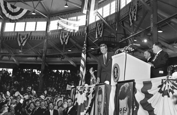 President Kennedy addresses supporters at the Coliseum at the Illinois State Fairgrounds in Springfield in October 1962.