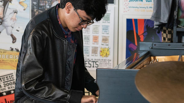 Joey Alexander performs a Tiny Desk Concert on Nov. 6, 2018 (Cameron Pollack/NPR).
