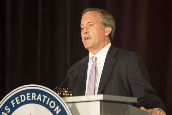 Texas Attorney General Ken Paxton speaks at the Texas Federation of Republican Women Convention in Dallas on Oct. 19, 2017.