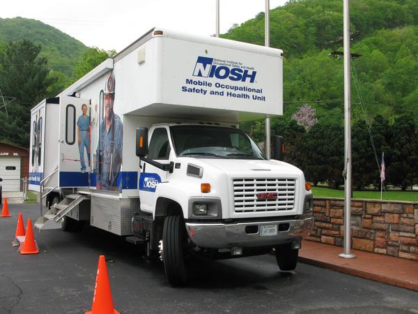 A NIOSH black lung surveillance van at the fire station in Wharton, W.Va., in 2012.