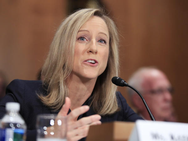 Kathy Kraninger, President Trump's nominee to run the Consumer Financial Protection Bureau, testifies before the Senate Banking Committee on Thursday.