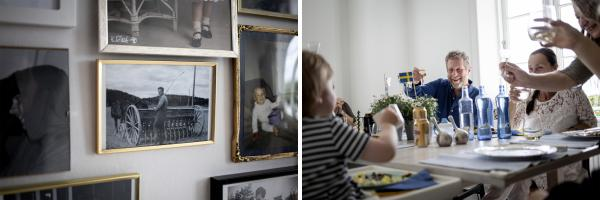 (Left) Agneta Berliner's father was Gert Berliner's cousin. (Right) Erika Pettersson's daughter says cheers and everyone around the table salutes her while celebrating Sweden's solstice holiday — Midsummer Eve.