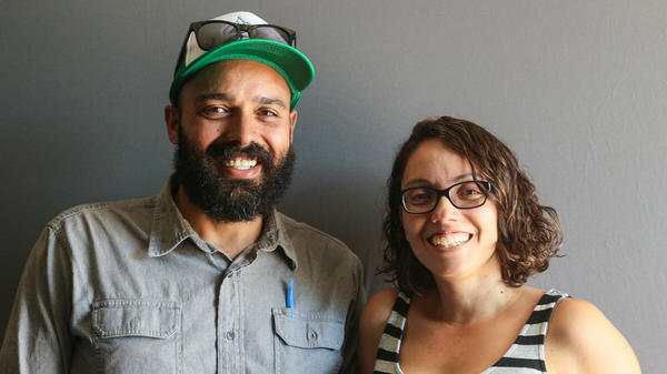 Israel Baryeshua, 38, and Tiffany Briseño, 35, at their StoryCorps interview in Denver.