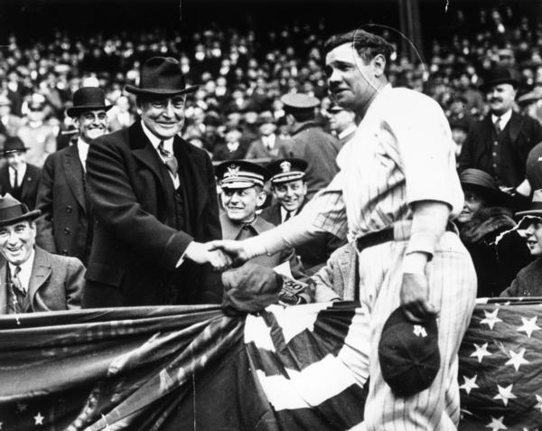 After shaking hands with then-President Warren Harding, Babe Ruth hit a home run to help the New York Yankees win the third game of the series. In his 15 seasons as a Yankee, Babe Ruth led the team to seven American League championships and four World Series.