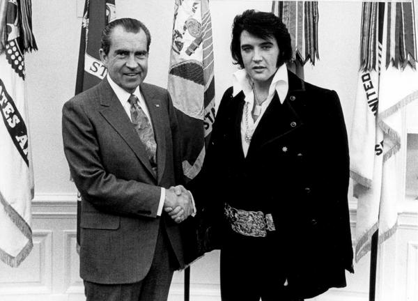 President Trump isn't the first Oval Office occupant to show his appreciation for Elvis. President Nixon met with Elvis Presley during a highly publicized visit to the White House in 1970.