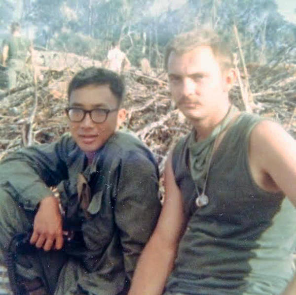 Kay Lee and John Nordeen, pictured in 1967 during the Vietnam War, met when they served in the same Army platoon. They lost touch after the war, but reconnected in 2015.