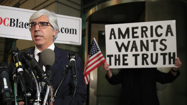 CNN's lawyer Theodore Boutrous Jr. speaks to reporters outside the federal court in Washington on Wednesday.