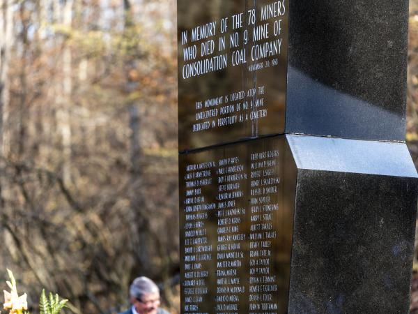 The Farmington Mine Disaster memorial in Mannington, W.Va., bears the names of the 78 men killed in the explosion on Nov. 20, 1968.