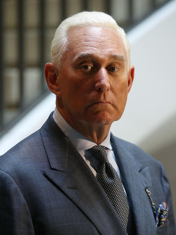 Roger Stone speaks to the media after appearing before the House intelligence committee during a closed-door hearing on Sept. 26, 2017.