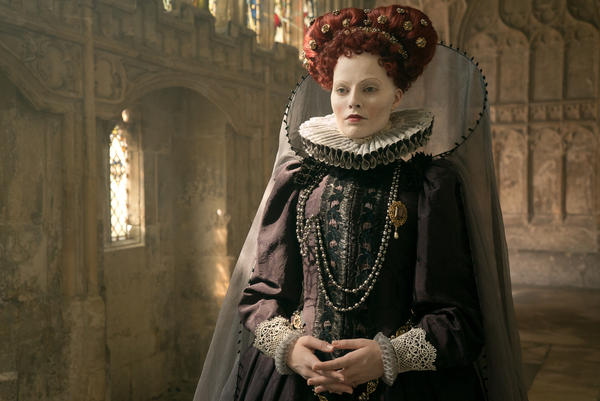 "Margot Robbie stars as Queen Elizabeth I in the film <em>Mary Queen of Scots.</em> ""Right now we're making a push — I feel more than I've ever experienced — to have more women in leadership roles,"" Robbie says."
