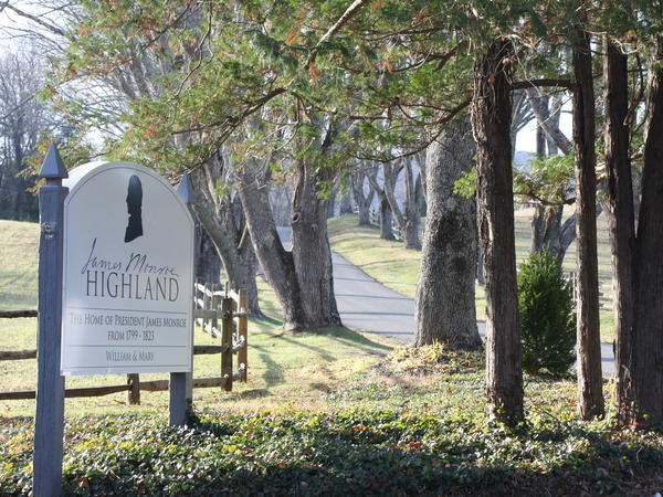 The entrance to Highland, the former plantation once owned by James Monroe, America's fifth president. The descendants of the African-Americans once enslaved on the plantation have become part of the story given out by guides.