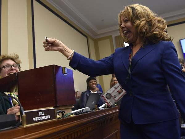 Rep.-elect Lucy McBath, D-Ga., reacts after drawing her number during the Member-elect room lottery draw on Capitol Hill in Washington on Friday.