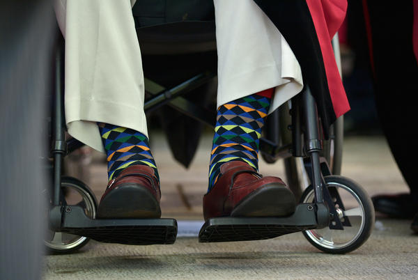 Bush's colorful socks at the Harvard University commencement ceremony on May 29, 2014, in Cambridge, Mass.