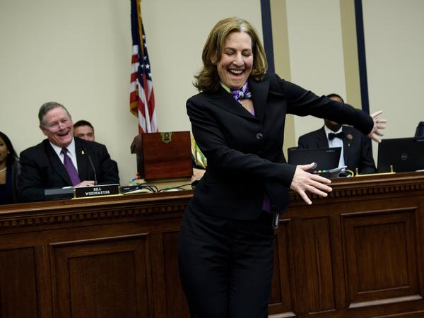 U.S. Representative-elect Kim Schrier (D-WA) does the flossing dance before drawing a number during an office lottery for new members of Congress on Capitol Hill Nov. 30, 2018 in Washington, DC.