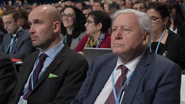 Natural historian David Attenborough listens to speeches during the COP24 summit on climate change in Katowice, Poland, on Monday.