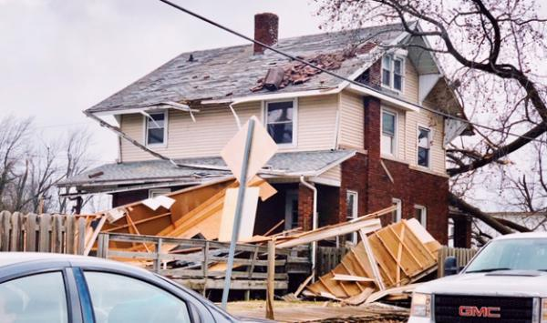 Saturday's tornado damaged a house in Hewittville, Illinois.