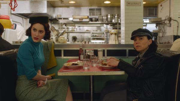 Hello Deli: Midge (Rachel Brosnahan) and Susie (Alex Borstein) nosh and schmooze in Season 2 of Amazon's <em>The Marvelous Mrs. Maisel.</em>