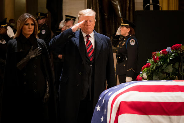 President Trump gave Bush, a decorated WWII naval aviator who flew several combat missions, a brief salute before the first couple left the Capitol.